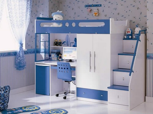 Двухъярусная кровать со шкафом, столом и ступеньками