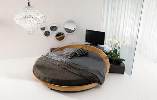 Спальня для молодой девушки с круглой кроватью
