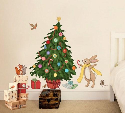 Настенные наклейки в виде новогодней елочки