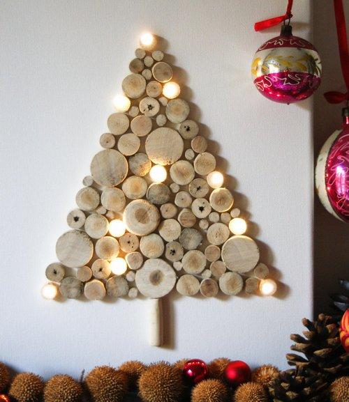 Елка на стену из сруба дерева