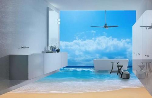 3D фотообои и полы в интерьере ванной