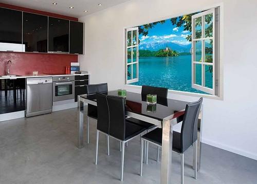 Фотообои на кухню 3D имитация окна