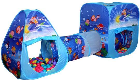 Игровой домик-палатка для детей с шариками и туннелем