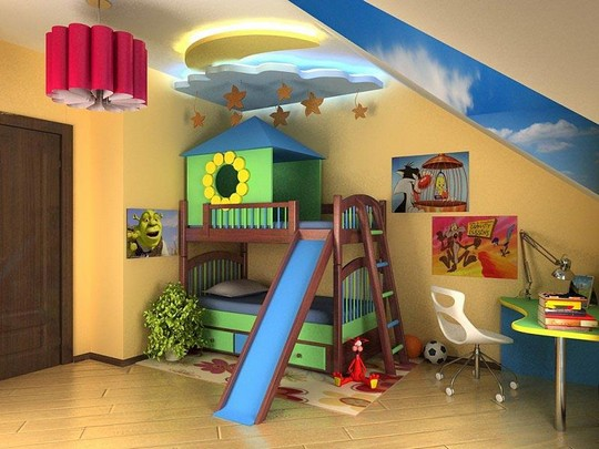 Кровать двухэтажная с домиком наверху
