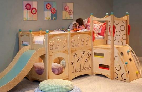 Кровать с домиком и горкой