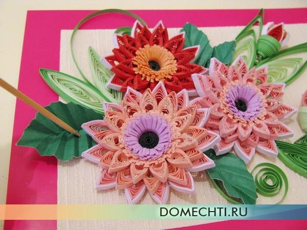 Картина цветов из квиллинга своими руками
