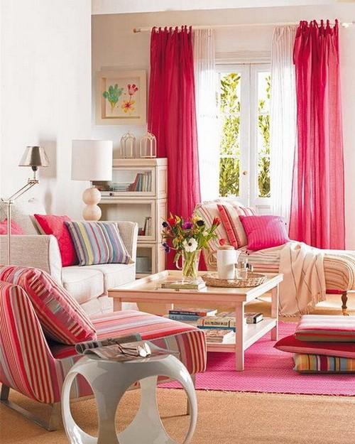 Шторы и текстиль малинового цвета фото