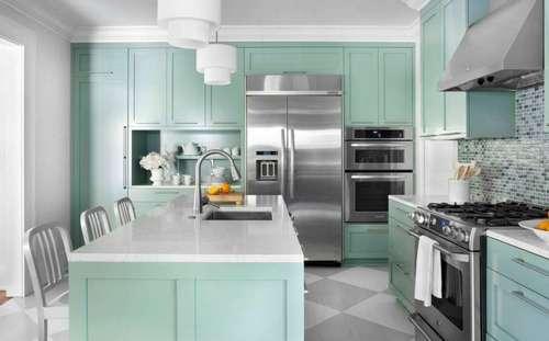 Кухня мятного цвета фото