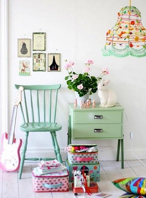 Мятный цвет в интерьере детской комнаты