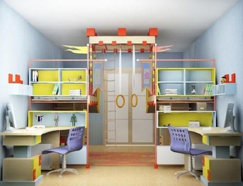 Дизайн маленькой детской комнаты со спортивным комплексом