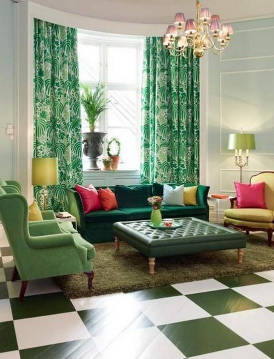 Изумрудный цвет в гостиной
