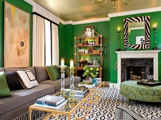 Изумрудный цвет в интерьере домашнего кабинета