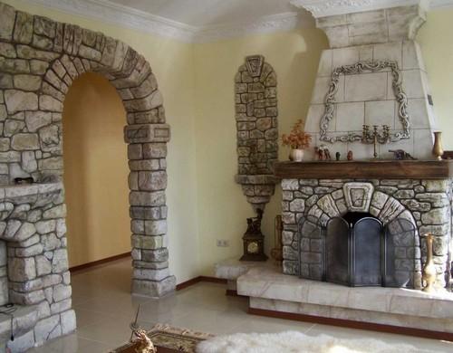 отделка арки декоративным камнем фото