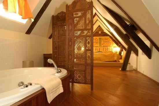 Спальня с ванной в мансарде