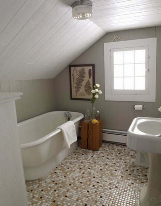 Планировка ванной комнаты на мансарде