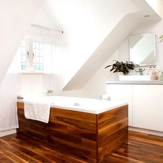 дизайн ванной в мансарде
