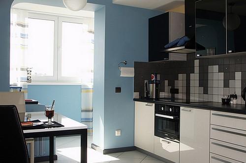 интерьер кухни совмещенной с балконом фото