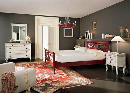 Красный ковер в спальне фото