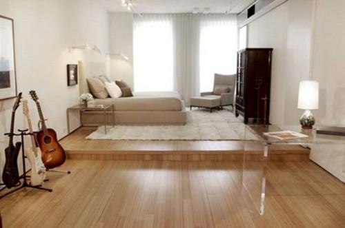 Зонирование комнаты с помощью подиума