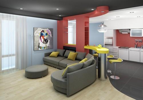 Зонирование пространства в кухне-гостиной