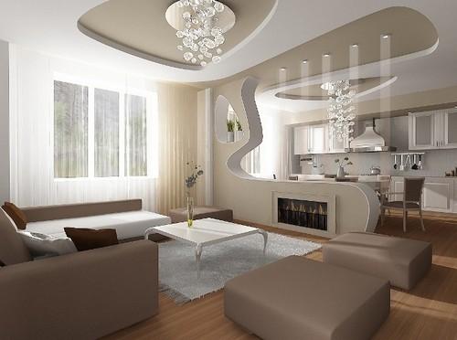 Зонирование пространства кухни совмещенной с гостиной