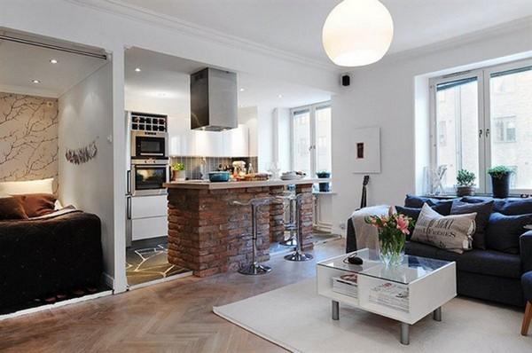 дизайн кухни студии в квартире