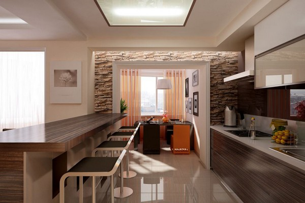 Как отделить кухню в квартире студии барной стойкой фото