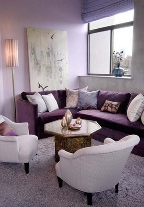 Гостиная комната в лиловом цвете