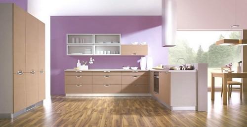 интерьер лиловой кухни