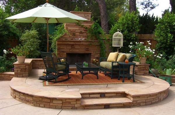 Дизайн патио в саду фото