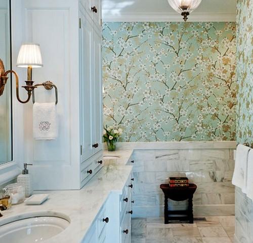 Виниловые обои в ванной фото