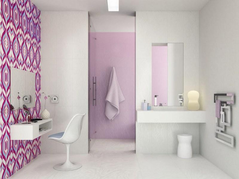 Дизайн ванной комнаты обоями фото