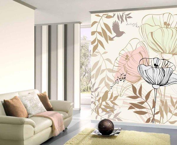 Идеи оформления гостиной обоями с рисунком