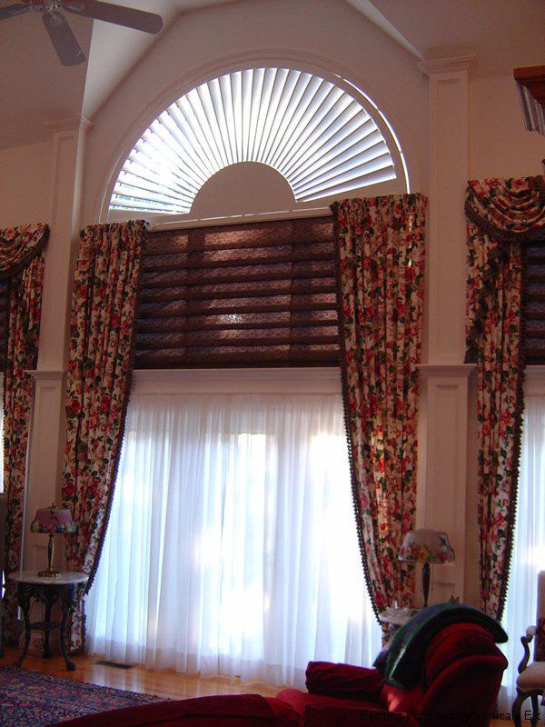 оформление арочного окна шторами