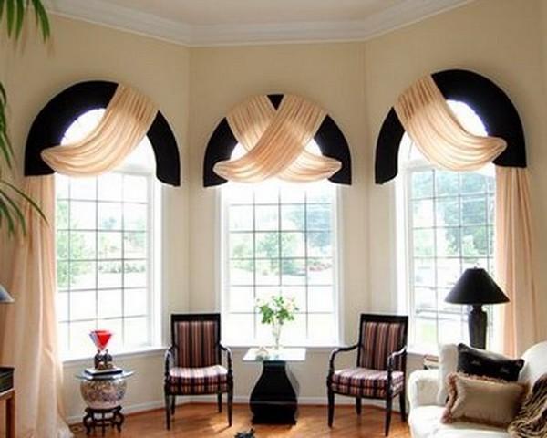 Дизайн штор на арочные окна фото