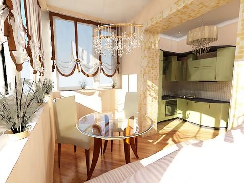 Дизайн маленькой кухни объединенной с балконом