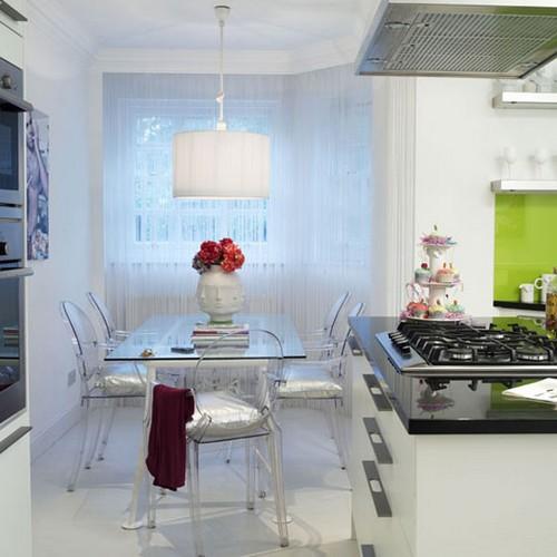 Обеденный стол из стекла для маленькой кухни фото