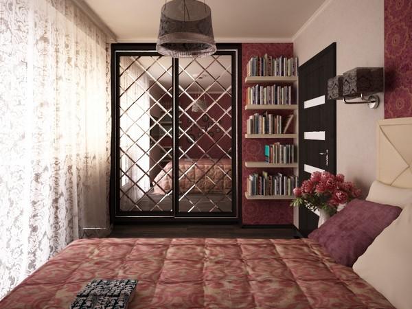 Двери шкафа-купе из зеркальной плитки