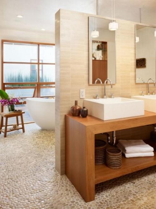 Галька для пола в ванной фото