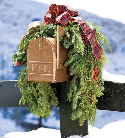 Новогодний ящик почтовый металлический уличный