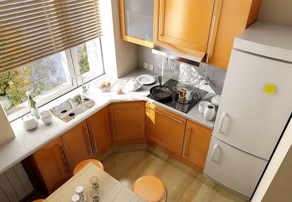 Угловая кухня вид сверху фото