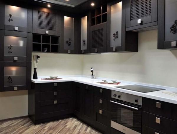 Подсветка мебельного гарнитура для угловой кухни фото
