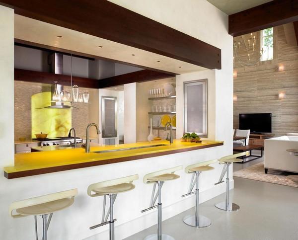Длинная барная стойка для кухни фото