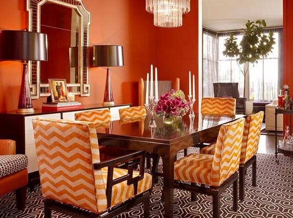 Столовая в персиковом цвете фото