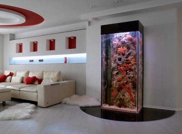 Декоративный аквариум для гостиной в стиле техно