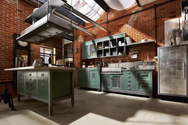 Кирпичные стены для кухни в стиле техно