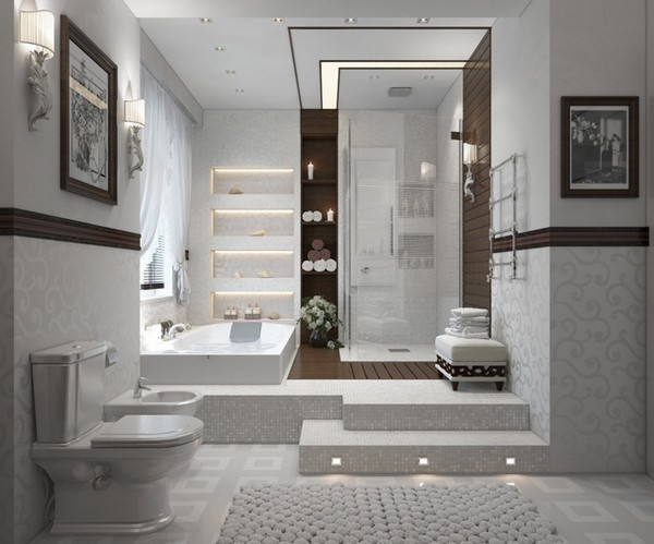 Душевая кабина на подиуме в ванной без поддона