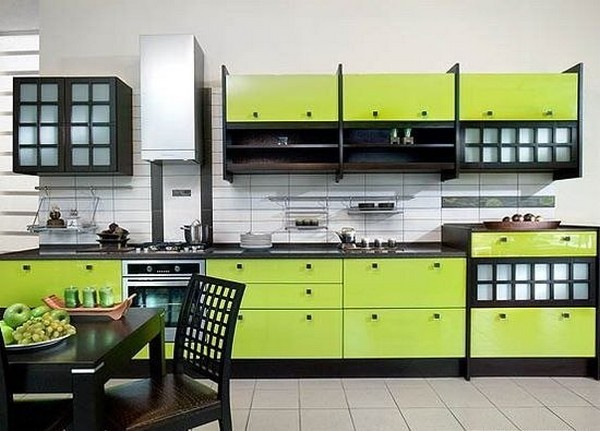Кухня зеленого цвета в японском стиле фото