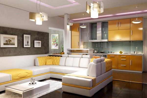 совмещенная кухня с гостиной фото