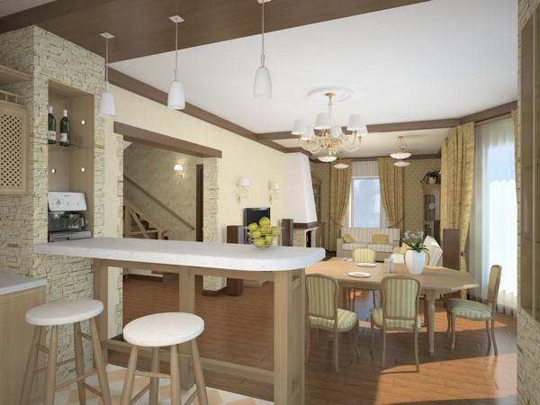 Совмещенная кухня с гостиной-столовой фото